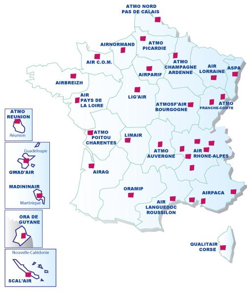Carte nationale des AASQA
